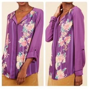 New ModCloth Long Sleeve Floral Blouse